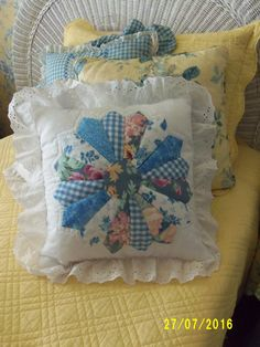Blue Dresden Pattern Patchwork Pillow by GreeneCountryTowne