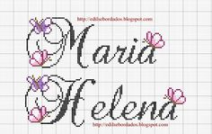 Edilse Bordados: Nomes que fiz Diy Embroidery, Cross Stitch Embroidery, Cross Stitch Letters, Name Letters, Winter Christmas, Cross Stitching, Gifts For Friends, Crochet Projects, Stitch Patterns
