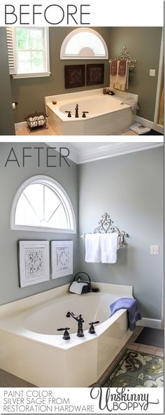 Master Bathroom Makeover before and after with Restoration Hardware silver sage paint color.