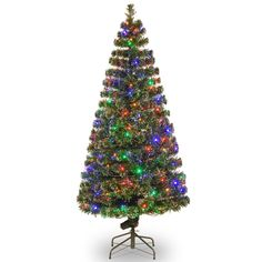 "Fiber Optics Evergreen 6"" Green Artificial Christmas Tree with 200 LED Multi Lights and Stand"