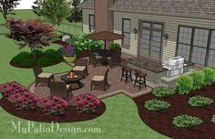 The Creative Backyard Patio Design with Grill Station-Bar combines a fabulous evening of outdoor dining with a relaxing night in front of a warm fire pit