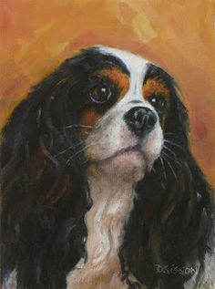 """""""Young Cavalier""""  Oil on canvas, 8"""" x 6"""". I so enjoy the sweet faces of these dogs.  My dog, Harvey, was a tri-colored Cavalier like the one I painted. You can't resist their big round eyes and their burnt sienna """"eyebrows"""".  And their bird dog soft muzzles are icing on the cake."""