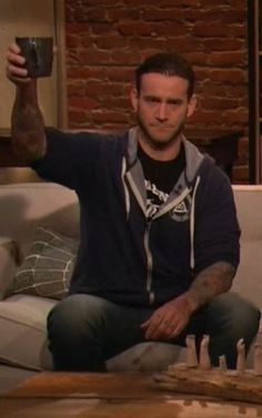 Phil Brooks (CM Punk) on Talking Dead, March 16th, 2014. Here's to you love <3