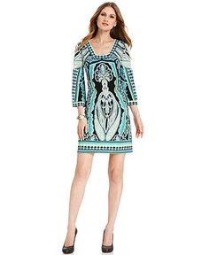 $36.99 Alfani Dress, Three-Quarter-Sleeve Printed Shift - Dresses - Women - Macy's