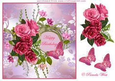 Birthday roses with frame and rose and butterfly decoupage, Only available from me on craftsupring