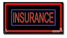 "Insurance Neon Sign - 20"" x 37""-ANS1500-5628-R  37"" Wide x 20"" Tall x 3"" Deep  Flashing Border ""ON/OFF"" switch  Sign is mounted on an unbreakable black or clear Lexan backing  Top and bottom protective sides  110 volt U.L. listed transformer fits into a standard outlet  Hanging hardware & chain included  6' Power cord with standard transformer  For indoor use only  1 Year Warranty on electrical components."