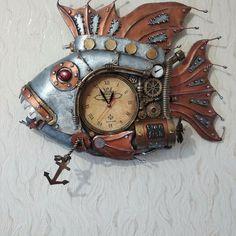 Steampunk Clock, Wood Watch, Fish, Accessories, Steampunk Watch, Wooden Clock, Pisces, Jewelry Accessories