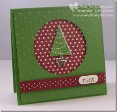 "Pennant Parade Framed Christmas Card Recipe Stamps: Pennant Parade Ink: Gumball Green, Soft Suede, Cherry Cobbler Paper: Gumball Green, Whisper White, Festival of Prints designer series paper Accessories: Big Shot, Perfect Polka Dots embossing folder, Cherry Cobbler Scallop dotted ribbon, 2-1/2"" Circle punch, Pennant Builder punch, Word Window punch, Stampin' Dimensionals"