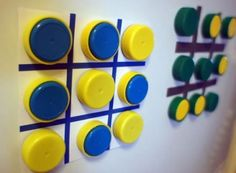 Unique Fridge Magnetic Tic Tac Toe Game from Upcycled Plastic Bottle Caps Here is Eco Friendly Fridge Magnet Game made from Upcycled Plastic Bottle Caps. Blue and Yellow. Plastic Bottle Tops, Plastic Bottle Crafts, Bottle Cap Crafts, Plastic Caps, Kids Crafts, Craft Activities For Kids, Diy And Crafts, First Grade Crafts, Bottle Cap Projects
