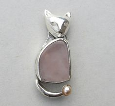 Silver cat necklalce rose quartz pendant by zilvera on Etsy, $120.00