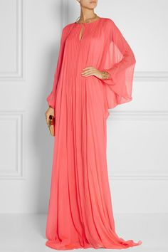 Coral silk-chiffon Concealed hook-fastening keyhole at front 100% silk Dry clean Designer color: Geranium