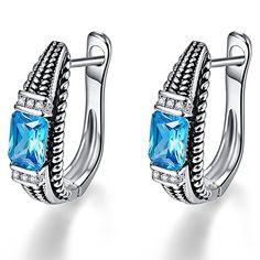 Merthus Vintage Style 3.1ct Natural Blue Topaz 925 Sterling Silver Earrings