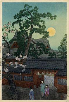Moonrise at Nezu Gongen Shrine, Tokyo by Shiro Kasamatsu, 1932 (published by Watanabe Shozaburo)