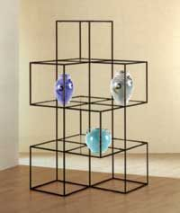 """PalayDisplay.com - Abstracta Open Design Multi-Level Display. The open design multi-level retail display has 12 glass shelves which each measure 14 15/16"""" square.  Dimensions - 63""""H x 32""""W x 32""""D  $574 Each"""
