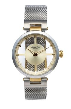 Kenneth Cole New York Transparent Dial Mesh Strap Watch, 36mm available at #Nordstrom