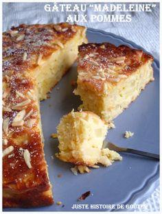 Un délicieux gâteau aux pommes qui est basé sur la recette d 'une pâte à madeleines . Un bon moelleux qui me fait penser à un gâteau à l'ancienne, les recettes de grand-mère qu'on appréciait tant !!! Il se conserve bien en plus, enfin si on ne mange pas...