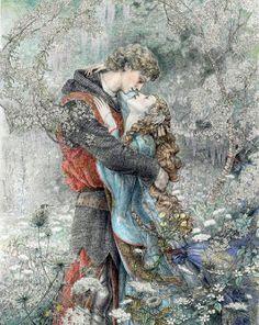 A fairy tale illustration by Kinuko Craft Art And Illustration, 7 Arts, Renaissance Kunst, Fairytale Art, Fairytale Fantasies, Mystique, Couple Art, Conte, Illustrators