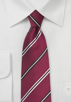 Krawatte Business-Streifen kirschrot