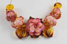 Lampwork Beads, Glass Beads, Handmade, Roses, Rusty Roses, Pink Flowers Garden Flowers, Rose Buds, Spring, Flowers, SRA #367 by CC Design