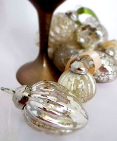 Here we have a boxed set of 8 exquisite silver mercury glass hanging baubles with delicate chiffon and satin ribbons. Mercury Glass, Jewel Tones, Ribbons, Clear Glass, Light Bulb, Delicate, Sparkle, Jewels, Shop