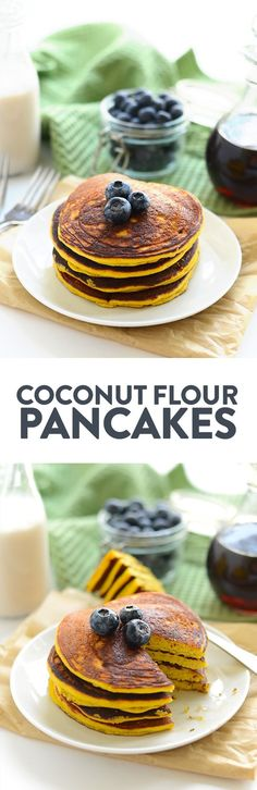 These Paleo Coconut Flour Pancakes are the best you'll ever make! They're made with just 4 main ingredients and a little coconut oil making them grain-free, dairy-free, and refined sugar free. A paleo pancake recipe that the kids will also enjoy.