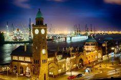 St Pauli's piers and the port of Hamburg at night.