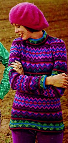 Long Fair Isle Tunic Top with Long Sleeves PDF Vintage Knitting Pattern by MomentsInTwine on Etsy