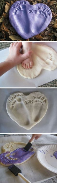 Salt Dough Footprint Heart | Click Pic for 18 DIY Fathers Day Crafts for Kids to Make | Homemade Fathers Day Crafts for Toddlers to Make