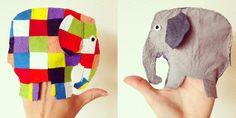 Handpop van Elmer de Olifant, bij het thema: Elmer, kleur en vorm. Gemaakt van vilt.