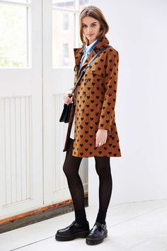 Compania Fantastica Heart Print Belted Trench with dr martens