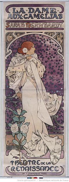 "1896 Alphonse Mucha print of Sarah Bernhardt in ""La Dame aux camélias,"" via @GallicaBnF"