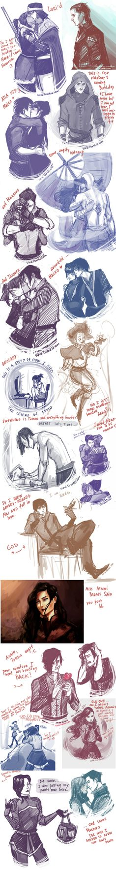 Avatar and Korra Aang Y Katara, Korra Avatar, Team Avatar, Crossover, Sketches Of Love, Drawing Sketches, Beautiful Sketches, Drawing Skills, Legend Of Aang