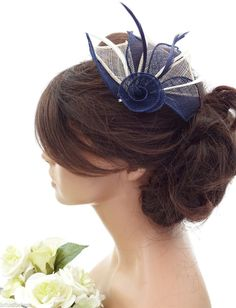 Elegant Mesh Net Cream  amp  Navy Blue Flower Hair Clip Grip Fascinator   amp  Feathers 5a7d1c29485