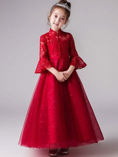Lace Sequined Mesh Applique Stand Collar Seven-Tenths Sleeves Long Full Dress