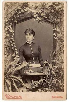 Victorian lady window nature woodland cabinet card Baltimore fern ivy on Etsy, $23.00