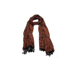 Echarpe Floral Laranja #echarpe #echarpes #lenços #lenço #scarf #scarfs