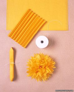 These decorations are easy to make with tissue paper and twine, and they stay on the car with suction cups, which won't damage the auto's exterior. Tissue Pom Poms, Paper Pom Poms, Pom Pom Garland, Paper Dahlia, Tissue Paper Flowers, Graduation Decorations, Diy Wedding Decorations, Wedding Ideas, Martha Stewart Weddings