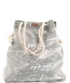 Tkaninowa torebka basic z efektem białej farby - me