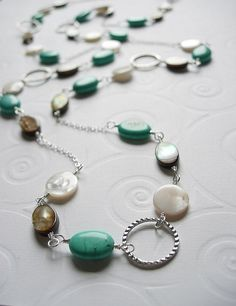 Turquoise, Mother Of Pearl Shell And Sterling Silver Wire Wrapped Necklace