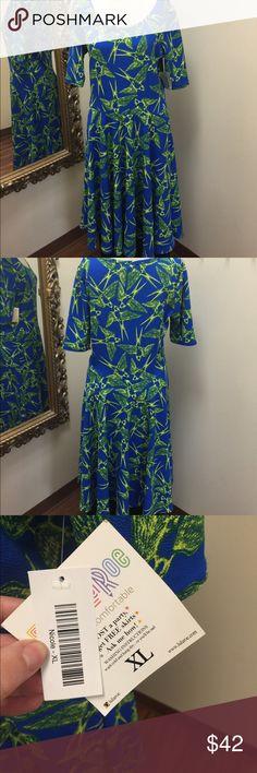 *NWT* LuLaRoe NICOLE dress blue yellow birds sz XL Beautiful LULAROE dress never worn. New with tags! LuLaRoe Dresses