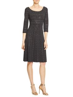 Black and Sequin Shimmer Milano Knit Dress | St. John Knits