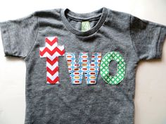 Birthday Shirt for 2 year old 2nd Birthday lowercase two with red chevron, pez and green circles on Etsy, $26.00