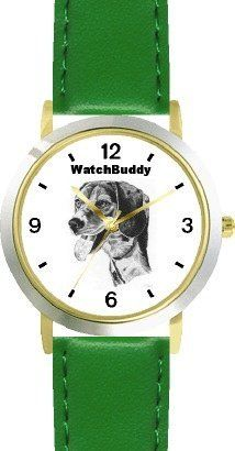 Beagle (SC) Dog - WATCHBUDDY® CLASSIC DELUXE TWO-TONE THEME WATCH - Arabic Numbers-Green Leather Strap-Children's Size-Small ( Boy's Size & Girl's Size ) WatchBuddy. $49.95. Save 38%!