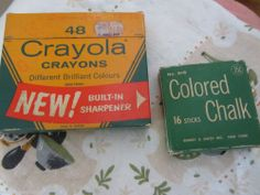 1962 crayola stadium box 48 count sharpener canada orig msrp .79 + old chalk box