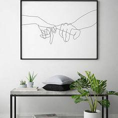 Pinky Swear Printable, One Line Drawing Print, Black White Hands Artwork, Hand Poster, Original Minimalist Couple Art, Minimal Fine Decor.