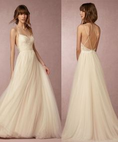 A line Sexy Open Back Tulle and Lace Spaghetti Straps Wedding Dress