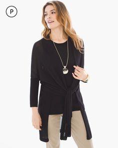 Chico's Women's Petite Convertible Cardigan, Black, Size: 3P (16P/18P XL)