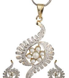 Buy PEACE Collection White Pearls Silver Pendant Set For Women Pendant online