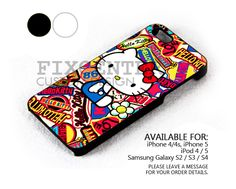 Sticker Bomb Hello Kitty case for iPhone 4/4S/5 iPod 4/5 Galaxy S2/S3/S4