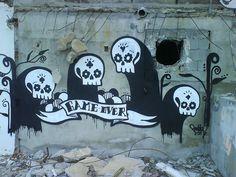 #streetart #goddog  GaMe OvEr by - GoddoG -, via Flickr Urban Street Art, Urban Art, Street Art Graffiti, Cool Things To Make, Murals, Skulls, Art Boards, Cool Art, Art Photography